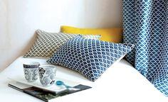 """Tissu jacquard 100% français """"Jakarta"""", esprit Ikat. Idéal pour l'ameublement/décoration : rideaux, coussins, ...  Coloris disponibles : bleu, bronze, cuivre, lin"""