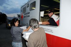 The American Red Cross did a superb job of assisting victims of Hurricane Ike. Here, they pass out hot meals, fruit bags and ice to people in Pearland, Texas, who some two weeks after the storm were still without power.