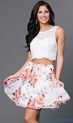As U Wish Two Piece Print Party Dress with Lace Top