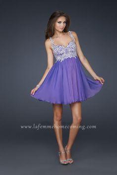 La Femme 17446 Short Sweetheart Cut Dresses with Embellished Bodice for Cocktail Light Purple