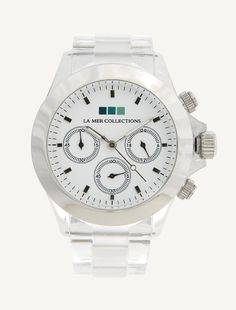 CLEAR LUCITE BAND - SILVER BEZEL WHITE DIAL FINISHED WATCH