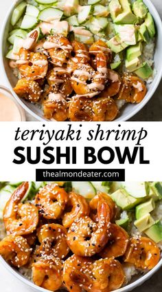 SHRIMP SUSHI BOWL -- the easiest weeknight dinner that's ready in about 30 minutes! Made with rice/quinoa then topped with cucumber, avocado, teriyaki shrimp, and spicy mayo, this will quickly become a go-to meal #sushibowl #shrimp #teriyakishrimp Shrimp Sushi Bowl, Shrimp And Quinoa, Quinoa Sushi, Seafood Recipes, Vegetarian Recipes, Healthy Recipes, Shrimp And Rice Recipes, Shrimp Recipes For Dinner, Fish Recipes