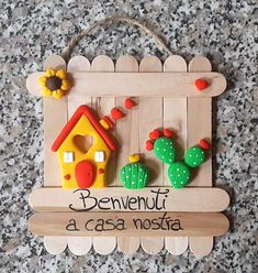 Fall Arts And Crafts, Fun Crafts, Diy And Crafts, Paper Crafts, Diy Popsicle Stick Crafts, Popsicle Stick Houses, Diy For Kids, Crafts For Kids, Clay Ornaments