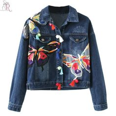 Blue Denim Embroidery Butterfly Floral Applique Short Coat Jacket Long Sleeve Loose Casual High Street Women Autumn Fall