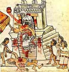 A picture taken from the Codex Mendoza,  created by native scribes for the Spanish in 1541-1542,  showing a ritual Aztec sacrifice.