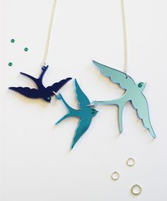 Our classic Swallow Triple Necklace has landed in a beautiful blue colourway exclusive to our workshop!