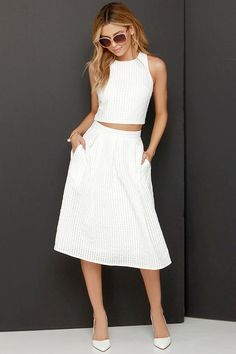 Sweet Sorbet Ivory Two-Piece Midi Dress