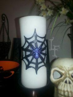 Spider Web Halloween Candle #halloween #spider #spider web #halloweendecoration #candle