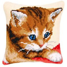 [itemName] - Shop Stitchery for needlework projects, kits and tools. Cat Cross Stitches, Cross Stitch Embroidery, Cross Stitch Patterns, Cross Stitch Pillow, Cat Pillow, Kids Pillows, Yarn Shop, Afghan Crochet Patterns, Canvas Patterns