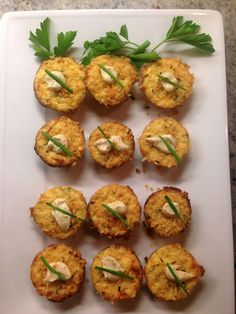 mini crab cakes baked in a muffin tin.. so easy!!!