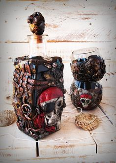 Pirate Kit, bottle and glasses for whiskey made to order, valentines gifts for him, unique gifts for men, best gifts for men