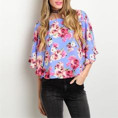 "Floral top 100% polyester Length: 20"" Bust: 30"" Width: 30"" S&K Boutique Tops Blouses"