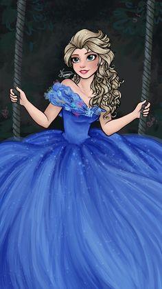 neimykanani:Drawing of Elsa as Cinderella ♥Ok I just……. O///O ♥♥♥♥♥♥♥♥♥♥♥♥
