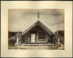 Photograph (black and white); exterior of a Maori marae (community meeting… Once Were Warriors, Maori Designs, Volcanic Rock, A Frame Cabin, Kiwiana, British Museum, Modern Design, Exterior, House Design
