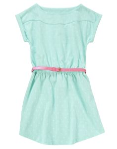 Shiny neon belt adds bright style to a soft dress with lots of little anchors.