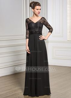 A-Line/Princess V-neck Floor-Length Chiffon Lace Mother of the Bride Dress With Beading Sequins (008057067)