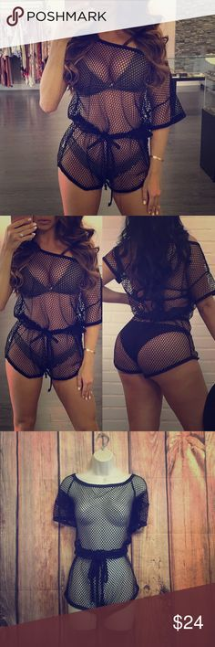 586bb68b27efe Black mesh romper  swimsuit cover up Very cute and versatile mesh romper   swimsuit cover