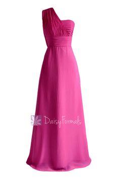 Hot Pink Floor Length One Shoulder Chiffon Bridesmaid Dress Evening Dress(BM452L)