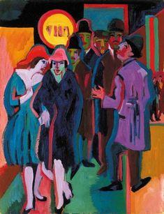 Scène de rue nocturne, de Ernst Ludwig Kirchner (1880-1938, Germany) >mvt expressionniste de Dresde (die Brücke) bcp plus de VIOLENCE DANS LE SUJET
