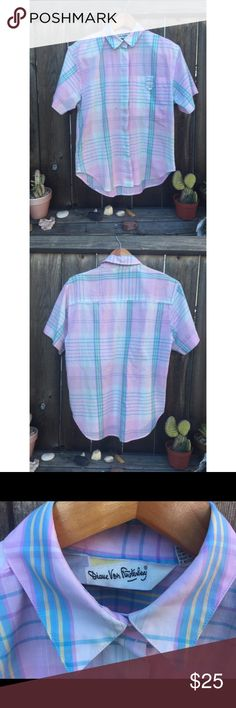 "VTG 80's DIANE VON FÜRSTENBERG PINK PLAID TOP SM Vintage 80's Diane Von Fürstenberg Pink Plaid Top complete with shoulder pads! Armpit to armpit 20"" front length 24"" there are spots on front green/ brown spot- but it is still cute enough to wear! Vintage Tops Button Down Shirts"
