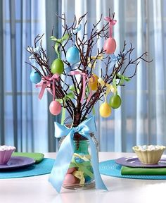 Lighted Mason Jar Easter Egg Tree Easter Egg Ornaments Table Holiday Home Decor #Unbranded