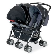The Combi Twin Sport in Graphite Scribble shown with a Combi Shuttle to create a full travel system