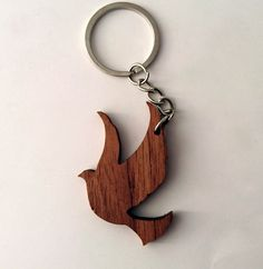 Llavero de Paloma madera de nogal madera Animal llavero