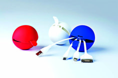 #MB5043 - CABLE BALL.Charging cable kit in a silicone pouch. The kit includes an adapter for iPhone 4 (cable length 7 cm), iPhone 5 (cable length 7 cm) and a micro usb adapter (cable length 10 cm). www.pslworld.com