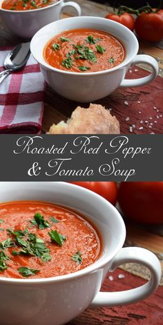 Roasted Red Pepper & Tomato Soup I added lots of extra seasoning, cream cheese and toppes it off with fresh grated romano Vegan Soup, Healthy Soup, Healthy Cooking, Cooking Recipes, Cooking Stuff, Healthy Foods, Roasted Red Pepper Soup, Roasted Red Peppers, Roasted Tomato Soup