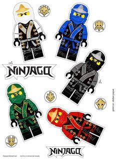 Sticker Set - 5 Ninjas in Elemental Robes - Printable - Clipart - Instant Download