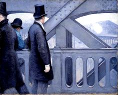"""Gustave Caillebotte: """" On the Pont de l'Europe"""" 1876-77 Oil on canvas 41-5/8 x 51-1/2 in. (105.7 x 130.8 cm) Kimbell Art Foundation, Fort Worth"""