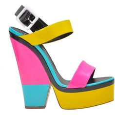GIUSEPPE ZANOTTI Multicolor Sandal ($285) ❤ liked on Polyvore featuring shoes, sandals, heels, yellow patent leather shoes, patent leather sandals, summer sandals, ankle strap heel sandals and yellow sandals
