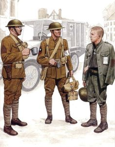 Left to Right: Quartermaster Sgt. of the 4th Marines sporting the Army drab uniform adopted by the Marines in France; A Corpsman assigned to the 4th Marines. His rank patch, worn on the right arm against navy regulations, is the only identifier as to his branch of service. As a pharmacists mate, he would head a companies section of corpsman, numbering between 2 and 5. It was dangerous work, and of the 350 assigned to the 2nd Marine Division in France, over half became casualties themselves…