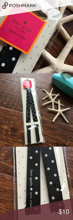 Kate Spade New York Sunglass Strap Black rubber strap with polka dots and Kate Spade ♠️ New York on strap. Package opened for photo only...never worn. Kate Spade  Accessories Sunglasses