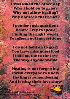 Grief.  Perfect...since I recently was told I need to stop dwelling on those I've lost.  Hmmm...