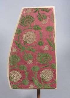 Textile fragment Date: second half century Culture: Italian Medium: Silk and metal thread Dimensions: L. 9 inches x cm) Classification: Textiles-Velvets Credit Line: Gift of Irwin Untermyer, 1954