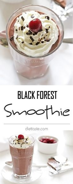 Black Forest Smoothie has all the flavors of the famous cake while being very healthy at the same time. Healthy Blender Recipes, Healthy Snacks To Make, Snacks For Work, Healthy Dishes, Eating Healthy, Vegetarian Recipes, How To Make Smoothies, Healthy Smoothies, Smoothie Recipes