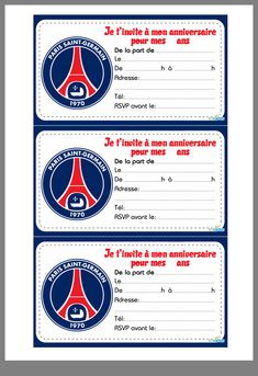 Psg, Paris Saint, Invitations, Football Equipment, Lol Dolls, Fitness Exercises, Projects, Save The Date Invitations, Shower Invitation