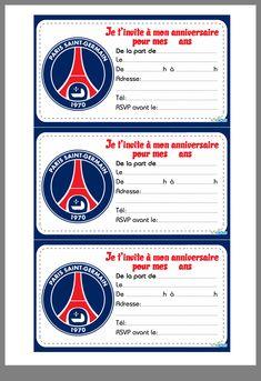 invitation paris saint-germain à imprimer | Football | Invitations, Psg et Party Invitations