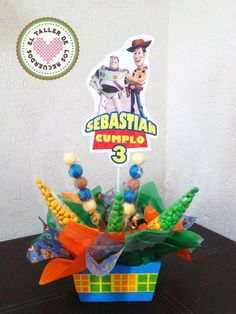 Centro de mesa con dulces personalizado Toy Story: