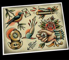 Nautical Tattoo Flash by ParlorTattooPrints on Etsy, $26.00