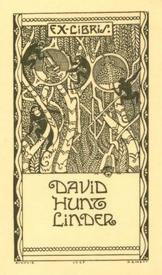 Four monkeys climbing trees in a jungle. There is also an image of a microscope and an organism [possibly a mushroom]. The head of a fifth monkey peeks over a panel with text.  David Hunt Linder (1899-1946) was born in Massachusetts. A botanist, he received his doctorate from Harvard University, where he also taught. Black ink. Signed Ainslie Hewett with four-digit year.