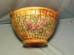Vintage Weller Pottery Large Flemish Rose Basket