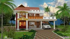 Kerala Houses With Beautiful Landscape House Designs Home With Level Floor House Brown Wall Patterned And Two White Seating Also Open Car Garage With Stone Driveway And Surrounded By Lawns And Trees of Awesome Idea Beautiful House Designs from Exterior Ideas