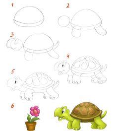 Как нарисовать черепаху пошагово - схема - фото - урок для детей