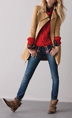 Skinny jeans + layers.