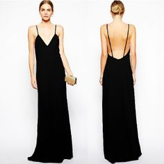 New Arrival Western Style Lady Elegant Black Sexy Spaghetti Strap Backless Evening Dress Floor-Length Full Size Party Dress#700  $25.24