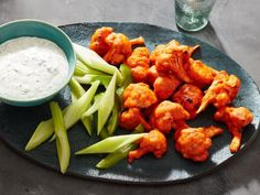 Get Cauliflower Hot Wings with Buttermilk Ranch Dipping Sauce Recipe from Food Network