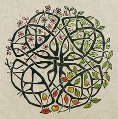 """Jane Kendall (Striped Pebble) ~ Apple Tree Celtic Knot ~ Linocut, hand made hemp paper, hand colored ~ """"I am fascinated with Celtic knots, and find it ridiculously difficult to remember how to draw them, it's the cleverness of the weaving in and out to ensure they go on forever, no beginning and no end, which was what gave me the idea to combine a knot, with a description of the seasons, through the year of an apple tree."""""""