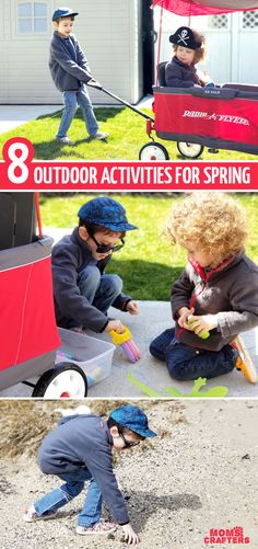 Looking for some cool outdoor activities for spring for toddlers and preschoolers? These fun learning and crafting ideas to do outside can be done in chilly weather too! Outside Activities, Craft Activities For Kids, Infant Activities, Outdoor Activities, Radio Flyer Wagons, Create Your Own Adventure, Outdoor Fun For Kids, Little Red Wagon, Backyard Play
